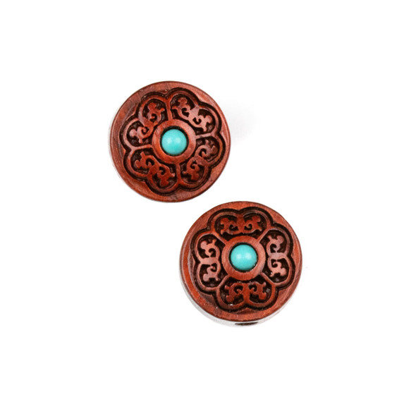 Carved Wood Focal Bead - 15mm Sandalwood Coin with Blue Howlite Center, 1 per bag