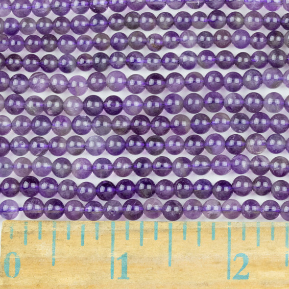 Amethyst 4mm Round Beads - approx. 8 inch strand, Set A