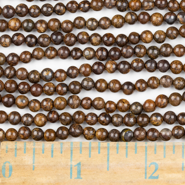 Bronzite 4mm Round Beads - approx. 8 inch strand, Set A