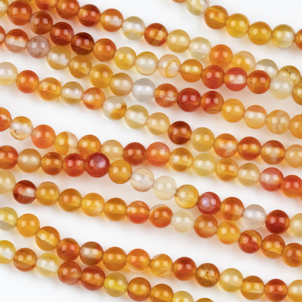 Carnelian 4mm Round Beads - approx. 8 inch strand, Set A