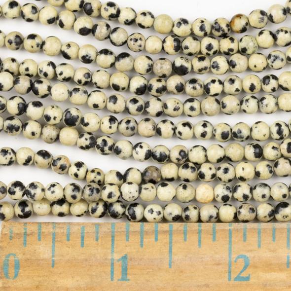 Dalmatian Jasper 4mm Round Beads - approx. 8 inch strand, Set A