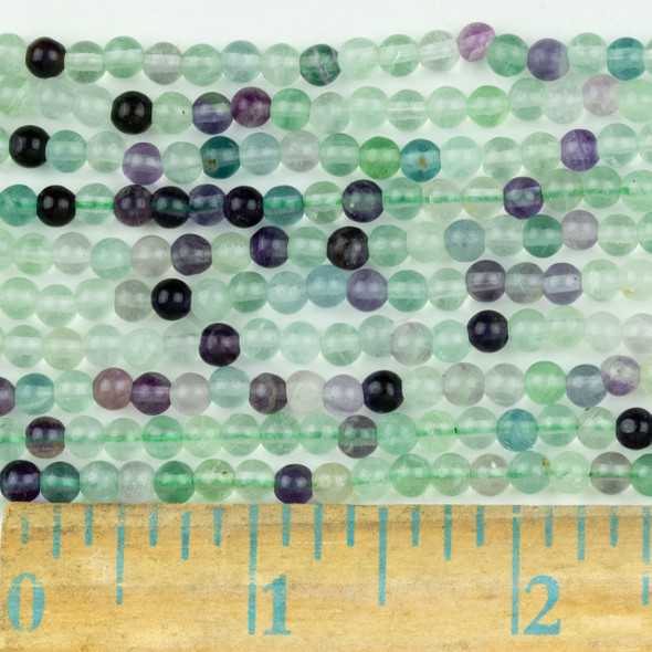 Fluorite 4mm Round Beads - approx. 8 inch strand, Set A
