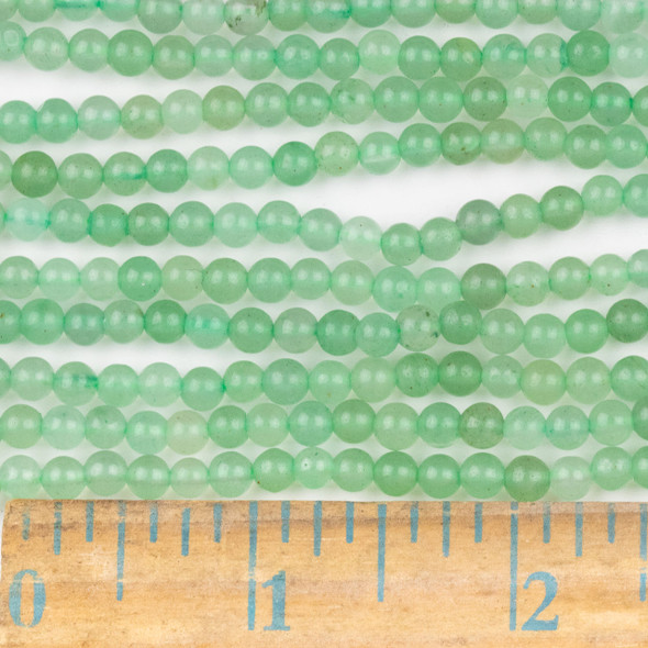 Green Aventurine 4mm Round Beads - approx. 8 inch strand, Set A