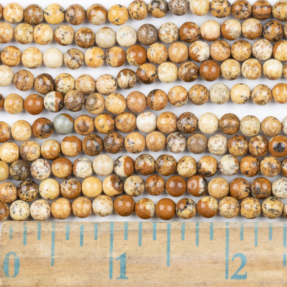 Picture Jasper 4mm Round Beads - approx. 8 inch strand, Set A