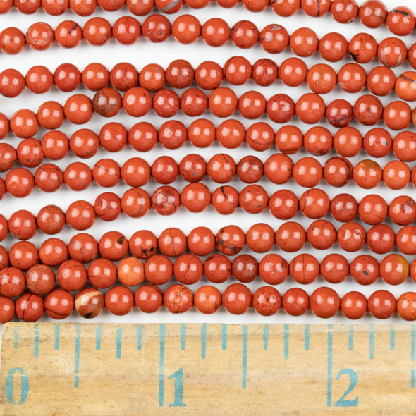 Red Jasper 4mm Round Beads - approx. 8 inch strand, Set A