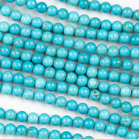 Turquoise Howlite 4mm Round Beads - approx. 8 inch strand, Set A