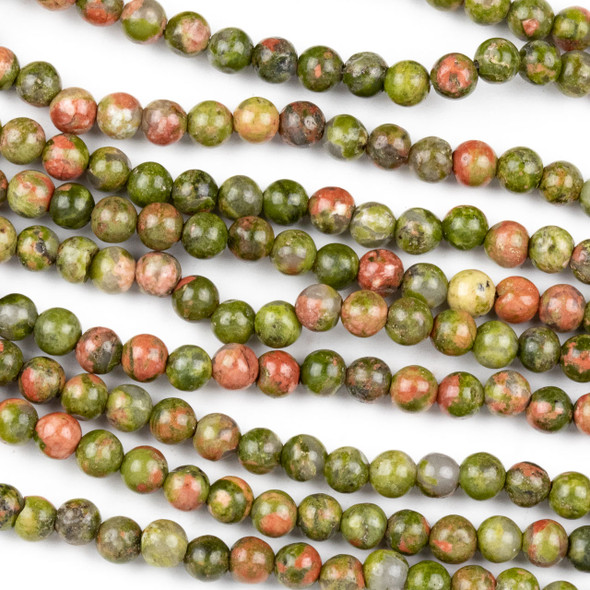Unakite 4mm Round Beads - approx. 8 inch strand, Set A