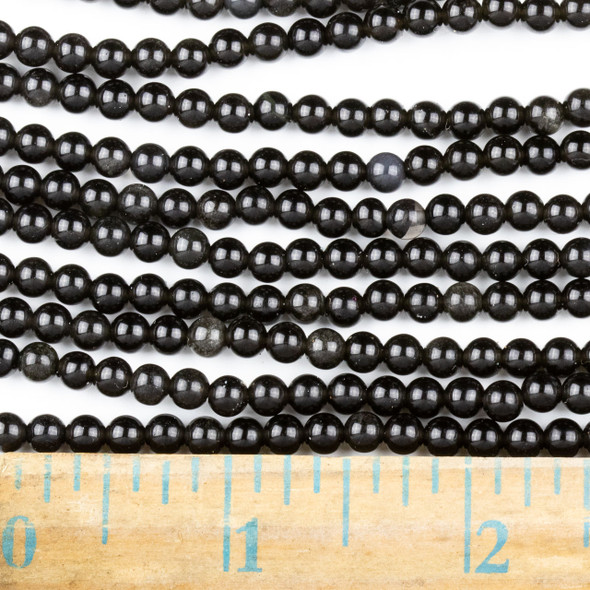Black Obsidian 4mm Round Beads - approx. 8 inch strand, Set A