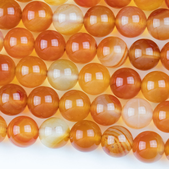 Carnelian 10mm Round Beads - approx. 8 inch strand, Set A