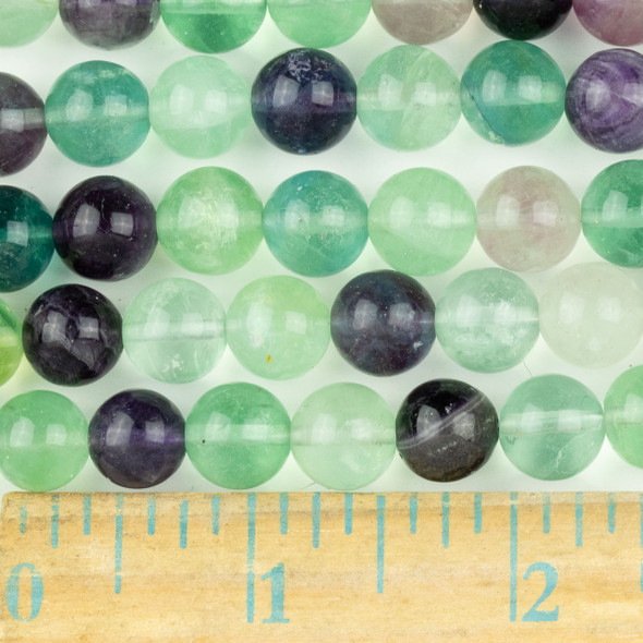 Fluorite 10mm Round Beads - approx. 8 inch strand, Set A