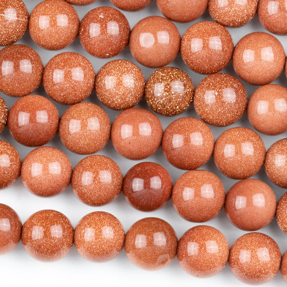 Goldstone 10mm Round Beads - approx. 8 inch strand, Set A