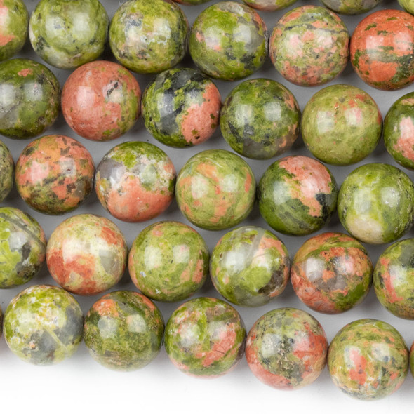 Unakite 10mm Round Beads - approx. 8 inch strand, Set A