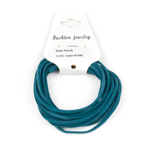 Aqua Blue Microsuede 1.5mm Thick, 2mm Wide Flat Cord - 3 yards