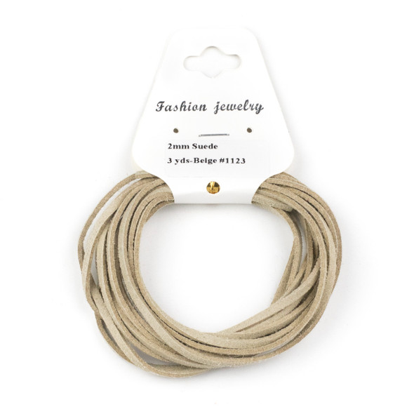 Beige Microsuede 1.5mm Thick, 2mm Wide Flat Cord - 3 yards