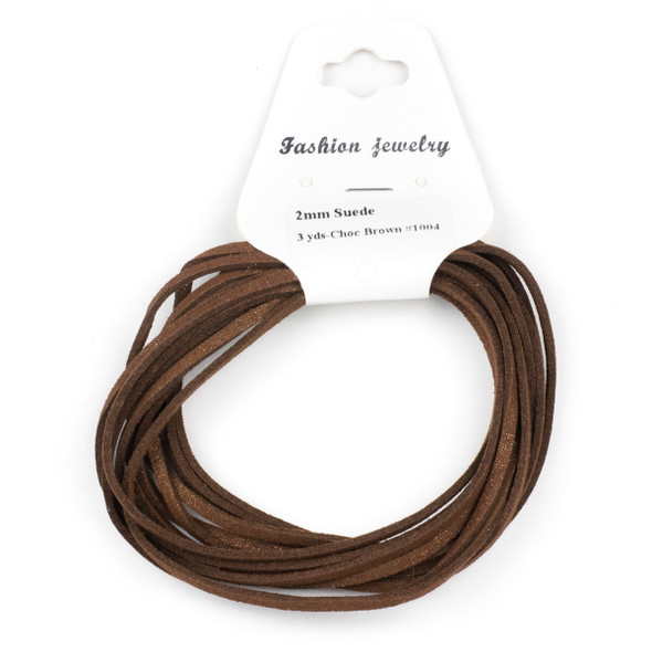 Chocolate Brown with Glitter Microsuede 1.5mm Thick, 2mm Wide Flat Cord - 3 yards