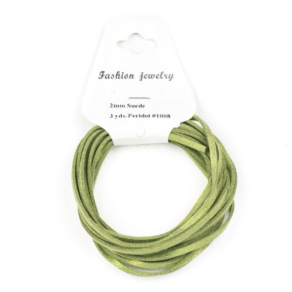 Peridot Green with Glitter Microsuede 1.5mm Thick, 2mm Wide Flat Cord - 3 yards