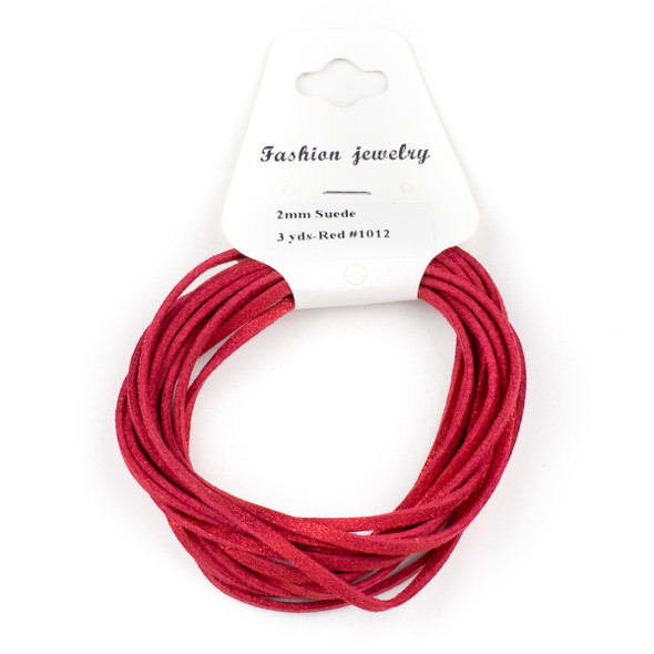 Red with Glitter Microsuede 1.5mm Thick, 2mm Wide Flat Cord - 3 yards
