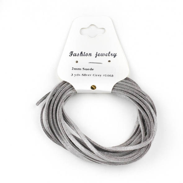 Silver Grey with Glitter Microsuede 1.5mm Thick, 2mm Wide Flat Cord - 3 yards