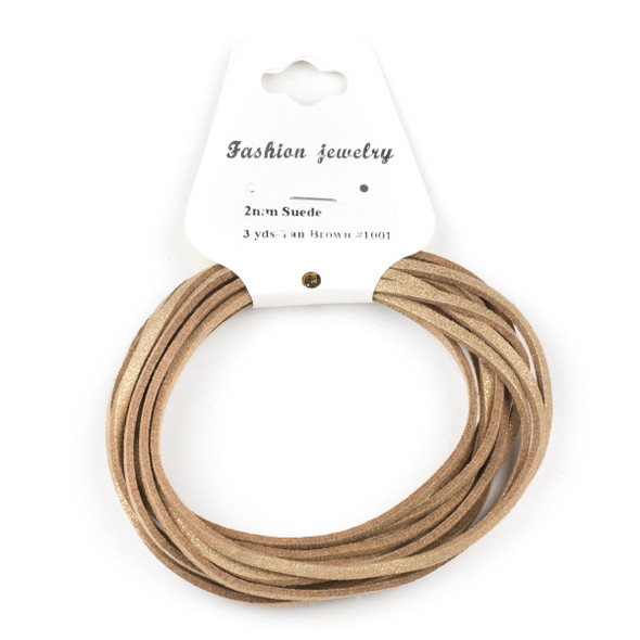 Tan Brown with Glitter Microsuede 1.5mm Thick, 2mm Wide Flat Cord - 3 yards