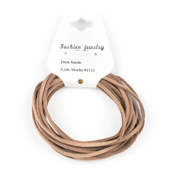 Mocha Brown/Tan Microsuede 1.5mm Thick, 2mm Wide Flat Cord - 3 yards