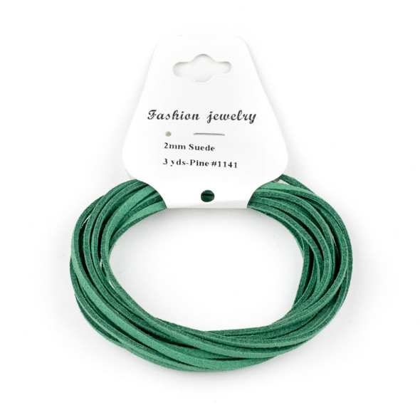 Pine Green Microsuede 1.5mm Thick, 2mm Wide Flat Cord - 3 yards