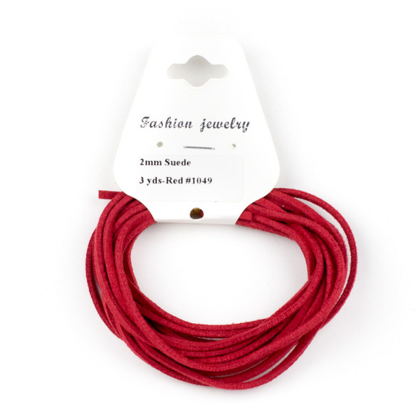 Red Microsuede 1.5mm Thick, 2mm Wide Flat Cord - 3 yards