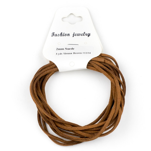 Sienna Brown Microsuede 1.5mm Thick, 2mm Wide Flat Cord - 3 yards