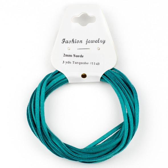 Turquoise Green Microsuede 1.5mm Thick, 2mm Wide Flat Cord - 3 yards