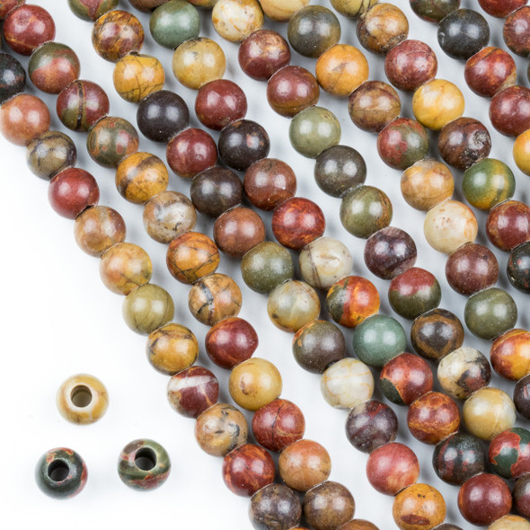 Large Hole Red Cherry Creek Jasper 6mm Round Beads with a 2.5mm Drilled Hole - approx. 8 inch strand