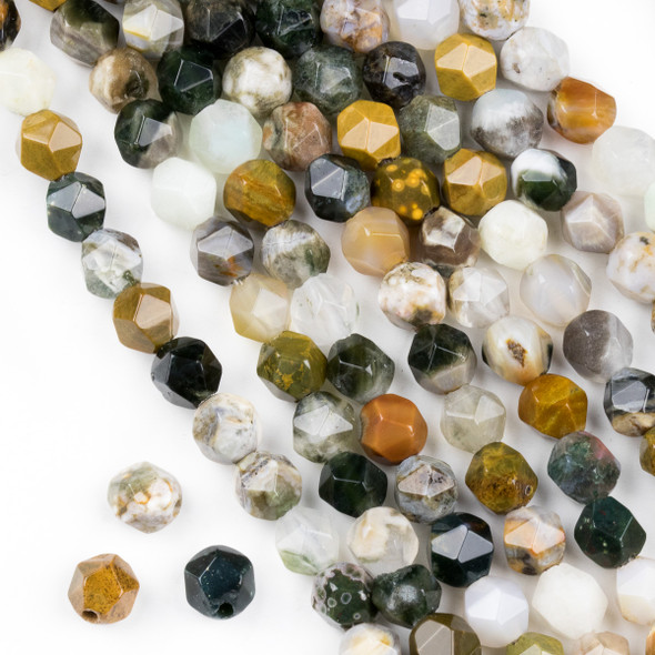 Large Hole Ocean Jasper 8mm Simple Faceted Star Cut Beads with a 2.5mm Drilled Hole - approx. 8 inch strand