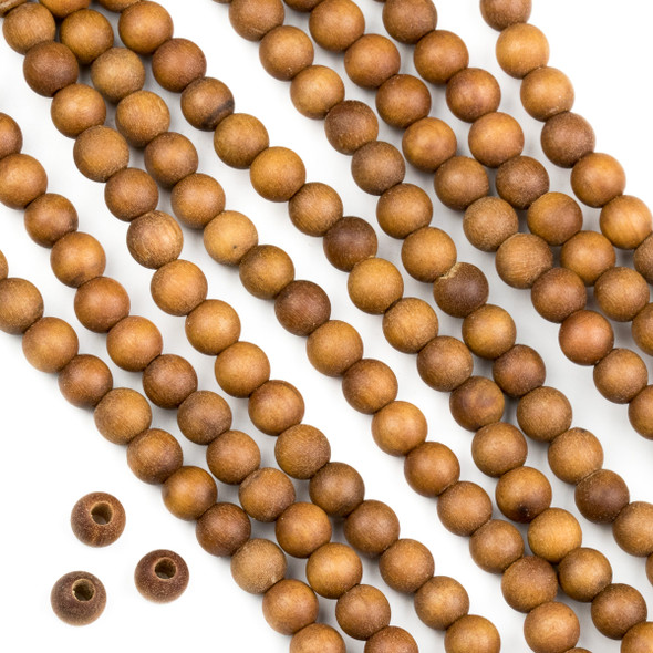 Large Hole Sandalwood 6mm Round Beads with a 2mm Drilled Hole - approx. 8 inch strand