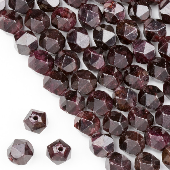 Large Hole Garnet 12mm Simple Faceted Star Cut Beads with a 2.5mm Drilled Hole - approx. 8 inch strand