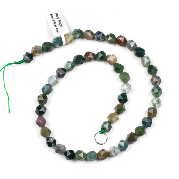 Fancy Jasper 8mm Simple Faceted Star Cut Beads - 15 inch strand