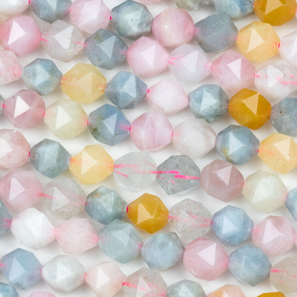 Morganite 10mm Simple Faceted Star Cut Beads - 15 inch strand