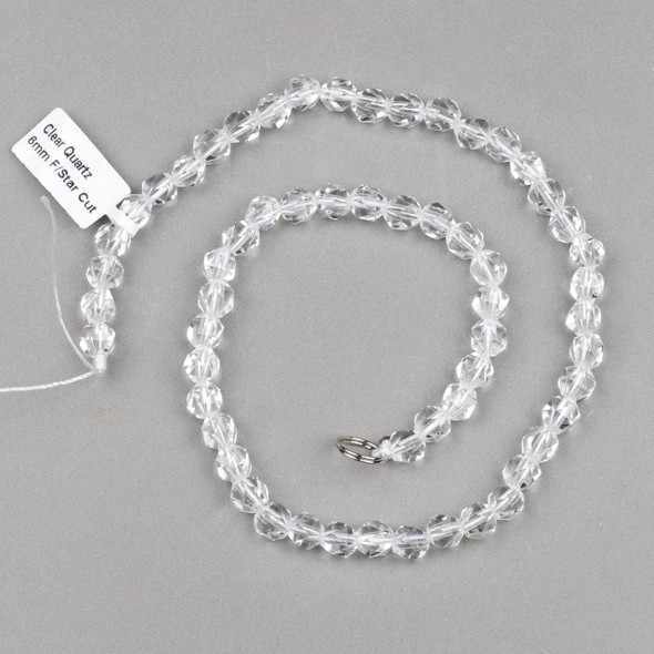 Clear Quartz 6mm Simple Faceted Star Cut Beads - 15 inch strand
