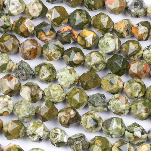 Rhyolite 10mm Simple Faceted Star Cut Beads - 15 inch strand