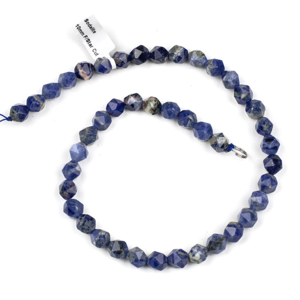 Sodalite 10mm Simple Faceted Star Cut Beads - 15.5 inch strand