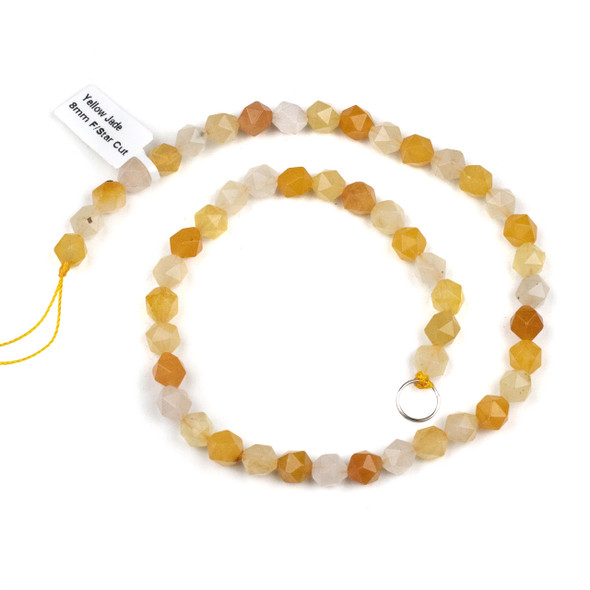 Yellow Jade 8mm Simple Faceted Star Cut Beads - 15 inch strand