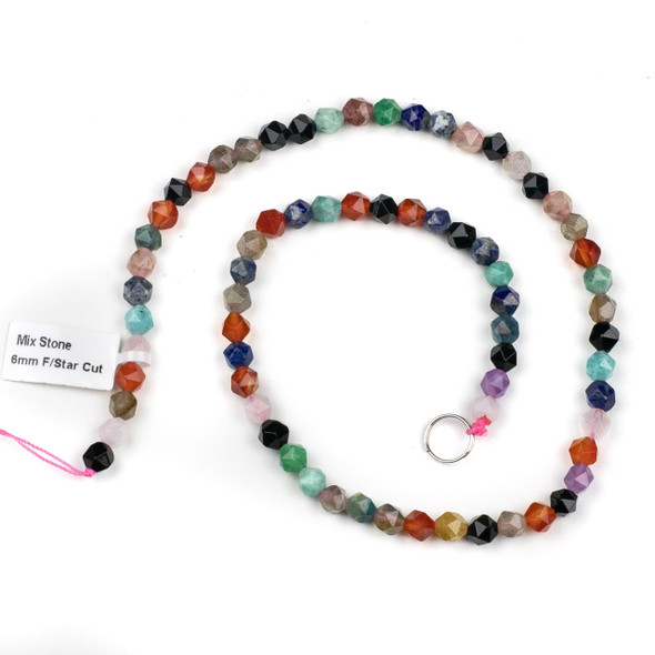 Mixed Gemstone 6mm Simple Faceted Star Cut Beads - 15 inch strand