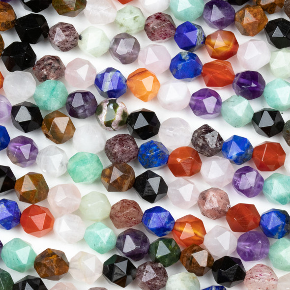 Mixed Gemstone 8mm Simple Faceted Star Cut Beads - 15 inch strand