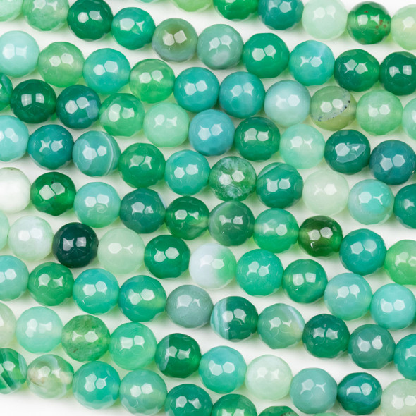 Special Cracked Agate 8mm Faceted Round Beads in a Green Mix - 15 inch strand