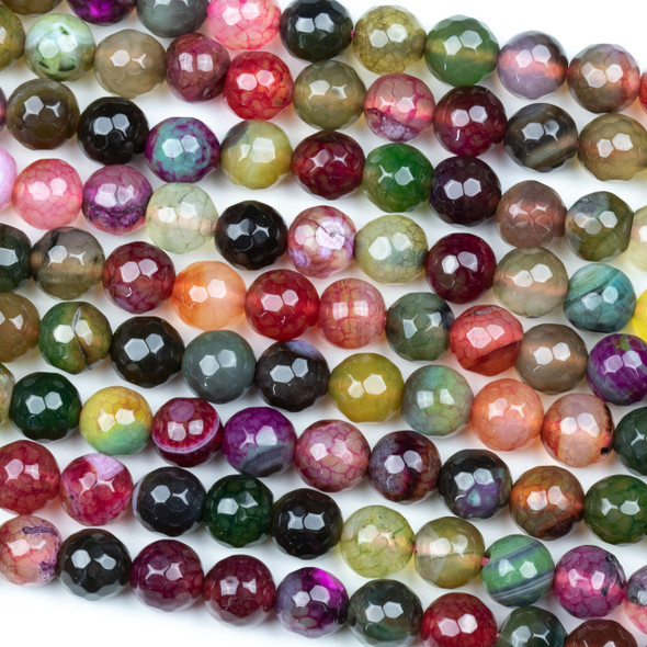 Special Cracked Agate 8mm Faceted Round Beads in a Fall Jewel Tone Mix - 15 inch strand