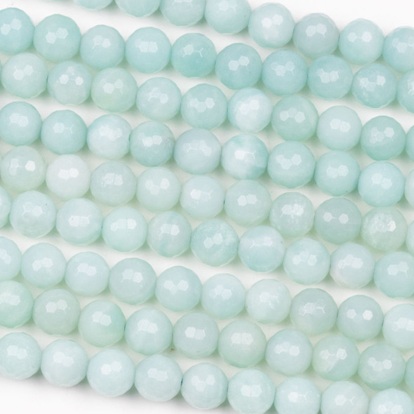 Pale Blue Amazonite 8mm Faceted Round Beads - 15 inch strand
