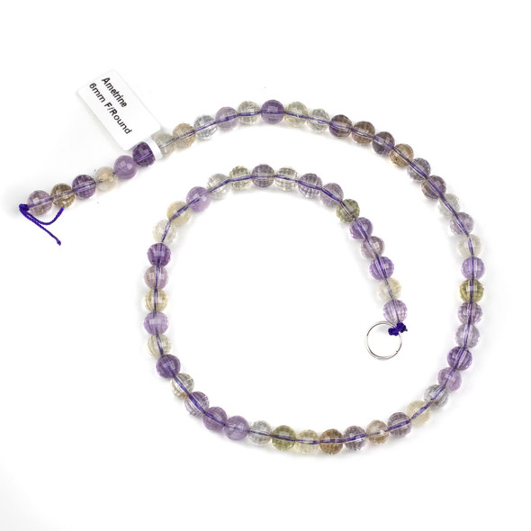 Ametrine 6mm Faceted Round Beads - 15 inch strand