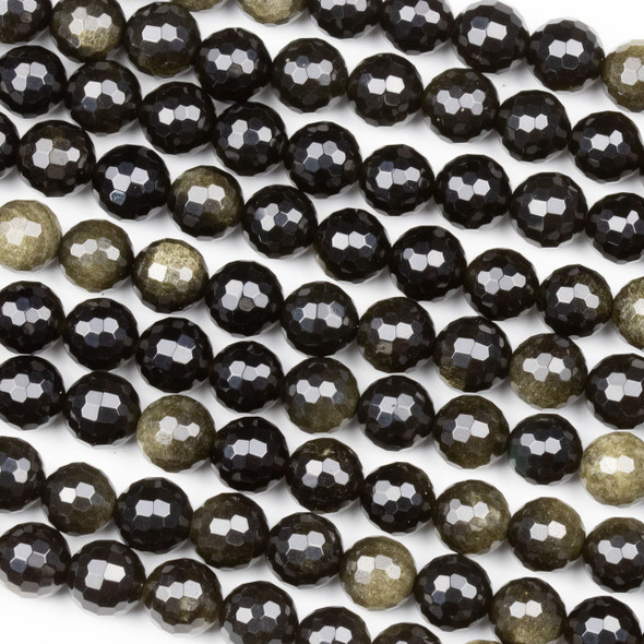 Golden Sheen Obsidian 8mm Faceted Round Beads - 15 inch strand