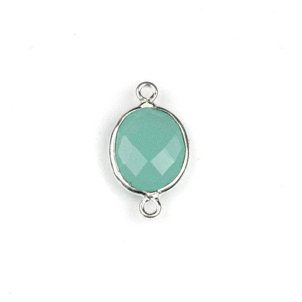 Aqua Chalcedony approximately 12x20mm Oval Link with a Silver Plated Brass Bezel - 1 per bag