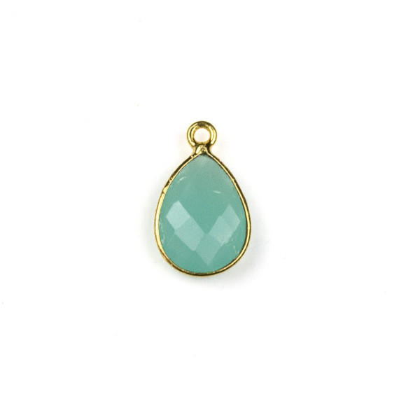 Aqua Chalcedony approximately 11x19mm Teardrop Drop with a Gold Plated Brass Bezel - 1 per bag