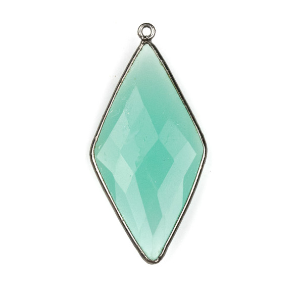 Aqua Chalcedony approximately 21x44mm Diamond Drop with a Gun Metal Plated Brass Bezel - 1 per bag