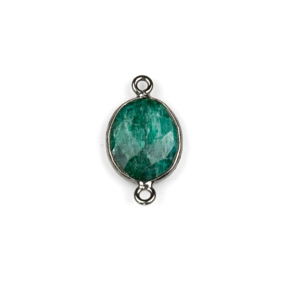 Emerald approximately 12x20mm Oval Link with a Gun Metal Plated Brass Bezel - 1 per bag