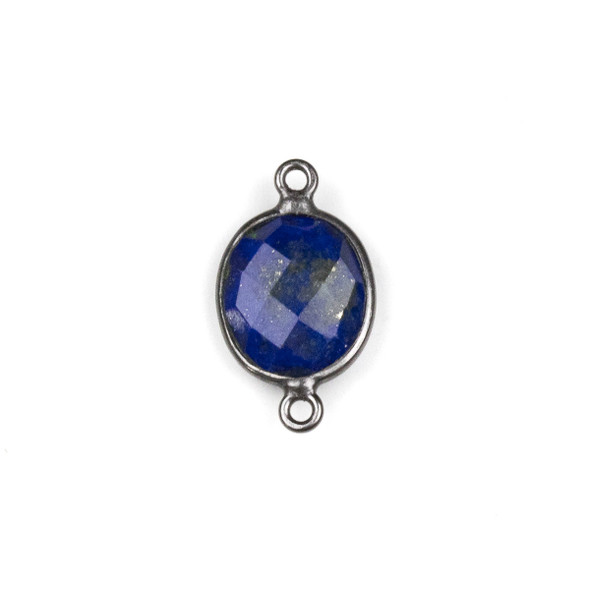 Lapis approximately 12x20mm Oval Link with a Gun Metal Plated Brass Bezel - 1 per bag
